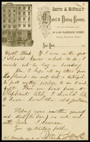 William Clarke, on Smith and McNell's Hotel and Dining Rooms in N.Y. note paper, to his son, John, in D.C.,