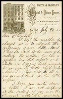 William Clarke, on Smith & McNell's Hotel and Dining Room in N.Y. note paper, to his wife, Elizabeth