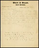 G.M. Wolfe, on the letterhead of Wolfe & Miller General Merchandise in Forest Glen, Md., to Mr. [Will] Clarke