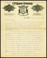 C.F. Guyon, on C.F. Guyon Company in N.Y. letterhead, to W.J.P. [Will] Clarke, in D.C.