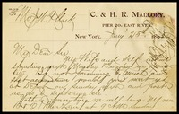 A.D.S. Jackson, on C & H. R. Mallory  in N.Y. note paper, to W.J.P. [Will]    Clarke, in D.C.