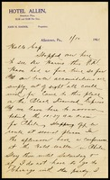 [Charles Linkins-signature page missing], on Hotel Allen in Allenton, P.A., to Cap [Will Clarke], 1/10/1901