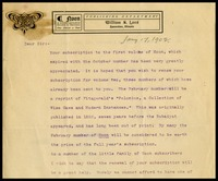 William S. Lord on Noon in Evanston, Illinois letterhead, to W.J.P. [Will] Clarke, in D.C.