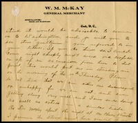 William McKay, on W.M. McKay, General Merchant in Coat, N.C. letterhead to his mother in-law, Sarah Clarke