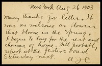 A.J.C. [Alfred Clarke], in N.Y., to his brother, Will, in D.C.