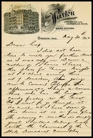 Hairy Mate [Charles Linkins], on Paxton in Omaha, Nebraska notepaper, to Cap [Will Clarke]