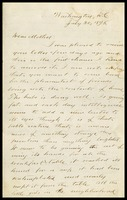 Willie [Will Clarke], in D.C. to his Mother, [Elizabeth], in N.Y.