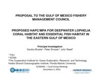Proposed HAPC/MPA for deepwater Lophelia coral habitat and essential fish habitat in the eastern Gulf of Mexico.  Presented to GOMFC- Coral Group Meeting Webinar, Dec. 4, 2014.