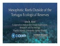 Proposal to Gulf of Mexico Fishery Management Council and FKNMS: Mesophotic reefs outside of the Tortugas Ecological Reserves