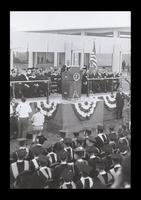 U.S. President Lyndon Baines Johnson is greeted at the FAU Dedication