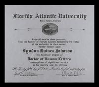 Doctor of Humane Letters diploma U.S. President Lyndon Baines Johnson received at the FAU Dedication