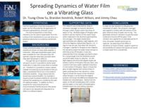 Spreading Dynamics of Water Film on a Vibrating Glass