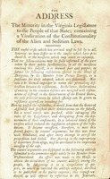 The address of the minority in the Virginia Legislature to the people of that State : containing a vindication of the constitutionality of the Alien and Sedition laws.