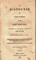 A discourse on some events of the last century : delivered in the Brick Church in New Haven on Wednesday, January 7, 1801
