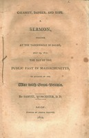 Calamity, danger, and hope. A sermon, preached at the Tabernacle in Salem, July 23, 1812. The day of the public fast in Massachusetts, on account of the war with Great-Britain.