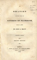 An oration delivered before the citizens of Plymouth, July 4, 1828.