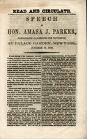 Speech of Hon. Amasa J. Parker, Democratic candidate for governor