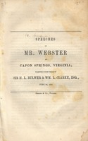 Speeches of Mr. Webster at Capon Springs, Virginia