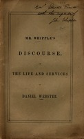 A discourse in commemoration of the life and services of Daniel Webster : delivered before the citizens of Providence, November 23, 1852